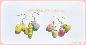 Kawaii veggies and fruits earrings by Bojo-Bijoux