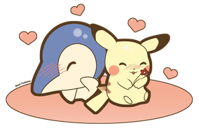 COMMISSION: Cyndaquil and Pikachu by SeviYummy