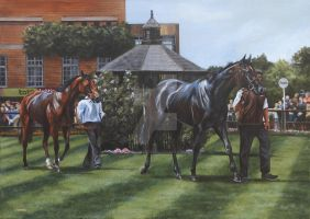 Across the Parade ring, July Course, Newmarket by Stephanie-Greaves