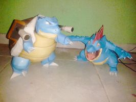 blastoise and feraligatr  papercraft! by javierini