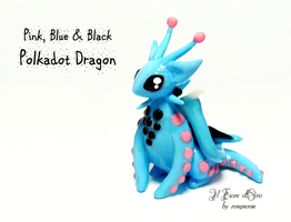 Pink, blue and black Polkadot dragon by rosepeonie