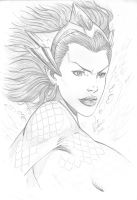 Mera - Pencil on cardstock by Leo Rodrigues by Ed-Benes-Studio