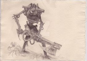 Necron Warrior Sketch by Bugspray609