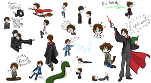 Harry Potter Doodles by BlueEmperorButterfly