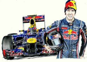 Red Bull RB8 and Vettel by Galbatore
