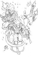 Savage Dragon the Glyph and Scud by JoeyVazquez
