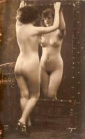 vintage nude woman and mirror by MementoMori-stock