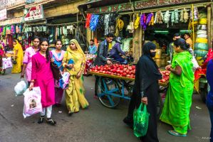 Incredible India - on a street at mid-day by Rikitza