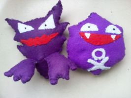 Haunter and Koffing by mirageant