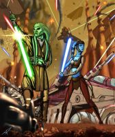 Kit Fisto and Aayla Secura - Battle for Geonosis by DarthPonda