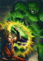 Goku vs Hulk by Yontanto