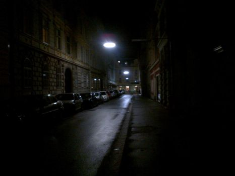 Dark streets at night by Queen-Of-Argyll
