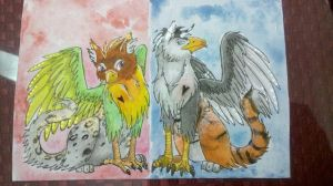 ACEO Valentine gryphons by Aireane01