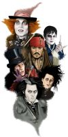 The many faces of Johnny Depp by Micafeu