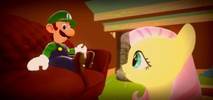 Luigi and Fluttershy chatting by IcePony64