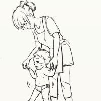 His first tiny step with mom by Mikayeel