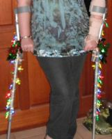Crutches with Christmas Lights by Amazinadrielle