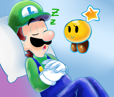 Sleeping luigi by raygirl12