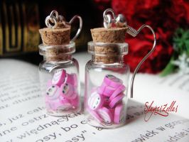 Earrings - Bottles with pink girls by Benia1991