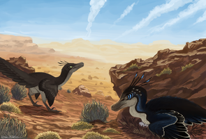 Velociraptor pair by Promilie