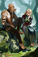 Aisling Lavellan and Solas by HeathWind