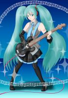 Miku playing bass guitar by Carmela-DarkQueen