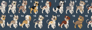 Dog adoptables - 1 points each! Open by Dexoxothewizarddean