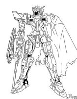 Exia Damaged - Lineart by kekyona