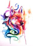 Colorful Watercolor WolfDog by Lucky978