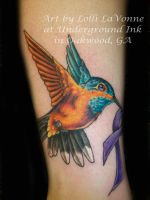 humming bird with ribbon color by lavonne