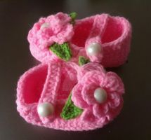 Pink Mania Baby Booties by NothingToLaughing