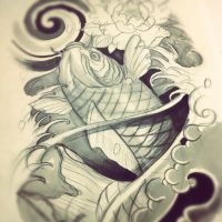 Koi fish leg sleeve sketch by WillemXSM