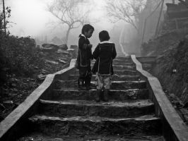 Two Hmong kids play. by kiTrout