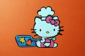 Cut Paper Baking Hello Kitty by Senshisoldier