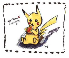 Pikachu eating Quiche by Spilled-Sunlight