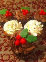Christmas Holly Cupcakes by Corpse-Queen