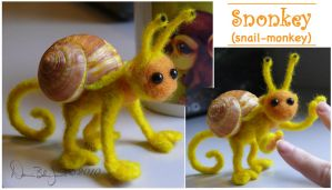 Felted Snonkey by FamiliarOddlings