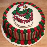 Christmas SnowMan Cake by Crosseyed-Cupcake