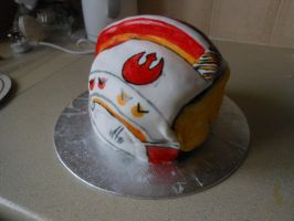 X-Wing Helmet Cake by emily0410