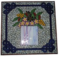 Fused glass flower mosaic by Mystic-Mosaics
