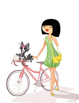Bike girl by Warly