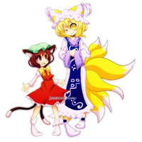Touhou: Ran and Chen by Sandette