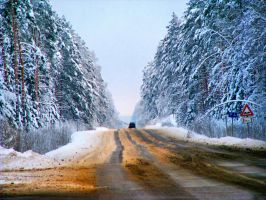 Winter's road by IronCrusader