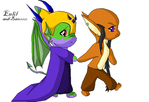 Chibi Enlil and Batoxxx by Sepseriis