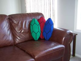 Legend of Zelda Rupee Pillows by harelquin-demon
