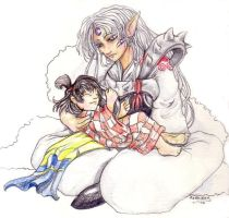 Sesshomaru and Rin by zirofax