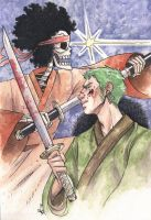 Brook and Zoro by ScuttlebuttInk