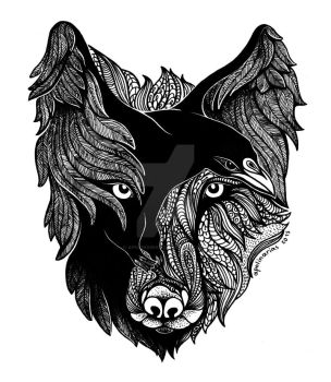 Wolf Raven by Apolinarias