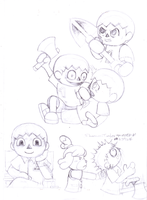 Good Villager vs psycho Villager (Pencil Sketches) by moshimo