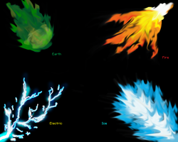 Elemental breaths: Fire, Earth, Ice and Electric by SuperSonicFireDragon